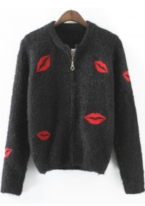 Black Lip Print Zipper Long Sleeve Cardigan