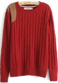 Red Patchwork Appliques Long Sleeve Wool Blend Sweater