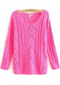 Rose-Carmine Geometric Hollow-out Pullover