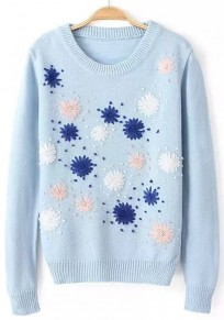Light Blue Flowers Embroidery Pullover