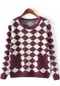 Dark Purple Geometric Pockets Pullover