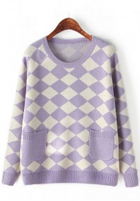 Light Purple Geometric Pockets Pullover