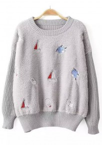 Light Grey Patchwork Sailboats Embroidery Pullover Sweater
