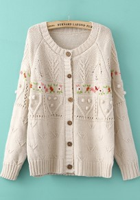 Beige Patchwork Embroidery Long Sleeve Sweater