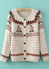 Beige Geometric Embroidery Long Sleeve Sweater