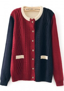 Red Patchwork Pockets Long Sleeve Cardigan