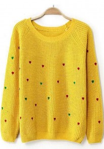 Yellow Heart Print Long Sleeve Sweater