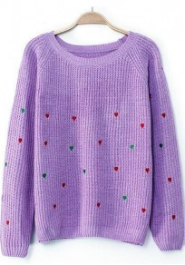 Purple Heart Print Long Sleeve Sweater