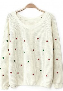 White Heart Print Long Sleeve Sweater