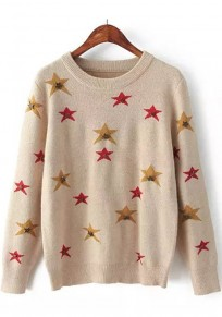 Beige Stars Print Sequin Long Sleeve Sweater