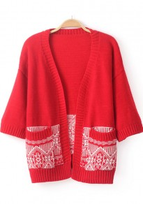 Red Print Pockets Half Sleeve Cardigan