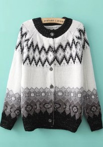 White Print Single Breasted Cardigan
