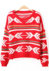 Red Geometric Print Pullover