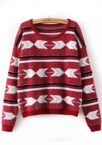 Red Geometric Fur Pullover