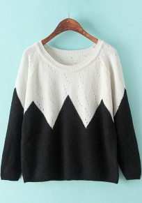Black Rhombus Print Hollow-out Pullover