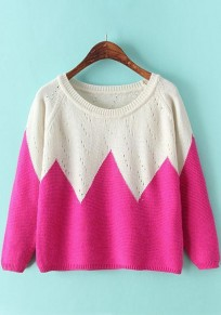 Rose-Carmine Rhombus Print Hollow-out Pullover