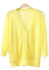 Yellow Flowers Hollow-out Long Sleeve Cardigan
