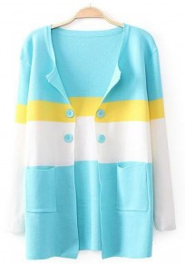 Blue Striped Pockets Long Sleeve Cardigan