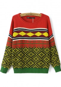 Multicolor Geometric Print Knit Pullover