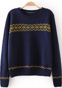Navy Blue Geometric Print Long Sleeve Sweater