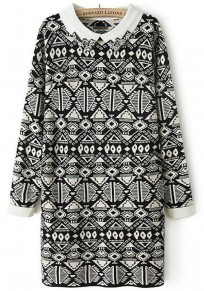 White Geometric Print Beading Knit Pullover