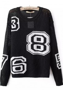 Black Letter Hollow-out Long Sleeve Sweater