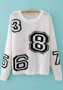 White Letter Hollow-out Long Sleeve Sweater