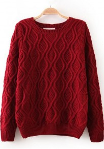 Wine Red Geometric Long Sleeve Sweater