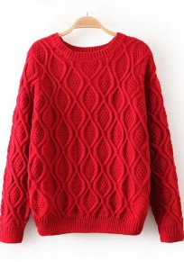 Bright Red Geometric Long Sleeve Sweater