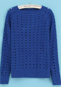 Blue Plain Hollow-out Long Sleeve Sweater