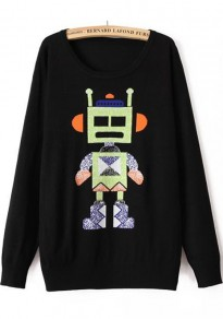 Black Robot Print Long Sleeve Pullover