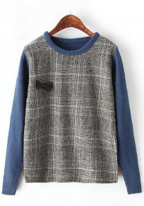 Blue Patchwork Bow Pullover