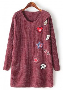 Wine-Red Print Appliques Pullover