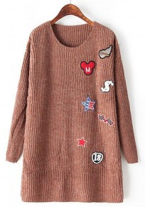 Coffee Print Appliques Pullover