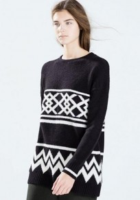 Black Geometric Print Vintage Pullover Sweater