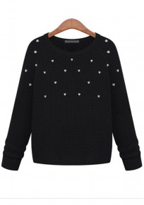 Black Love Embroidery Loose Pullover