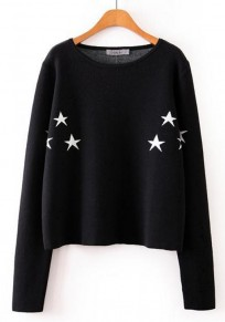 Black Star Print Knit Pullover