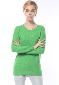 Green Plain Long Sleeve Pullover