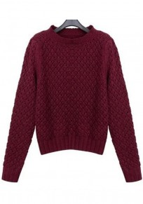 Wine Red Plain Hollow-out Pullover