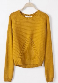 Yellow Geometric Slim Pullover