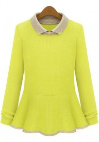 Yellow Patchwork Falbala Pullover