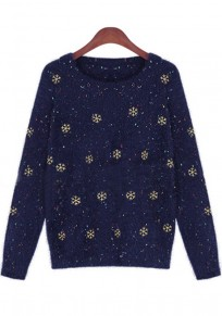 Blue Snowflake Embroidery Pullover