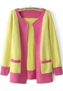 Yellow Patchwork Pockets Cardigan
