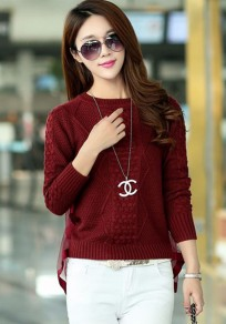 Wine Red Patchwork Grenadine Sweet Pullover Sweater