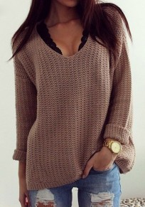 Coffee Plain Hollow-out V-neck Long Sleeve Loose Vintage Casual Pullover Sweater