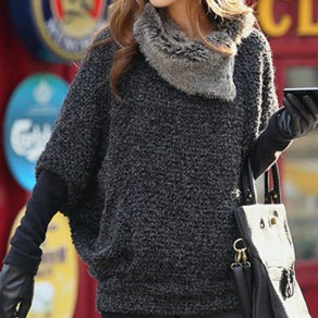 Grey Plain Elbow Sleeve Fashion Pullover Sweater