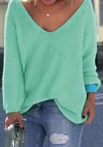 Green Plain V-neck Long Sleeve Loose Fashion Pullover Sweater