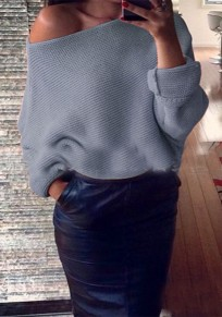 Grey Plain Irregular Boat Neck Streetwear Acrylic Pullover Sweater