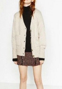 Beige Plain Pockets Buttons V-neck Casual Cardigan Sweater
