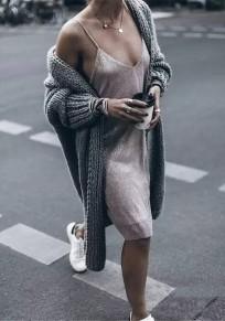 Graue Einfarbig V-Ausschnitt Langarm Lässige Cardigans Damen Grobe Strickjacke Lang Mantel